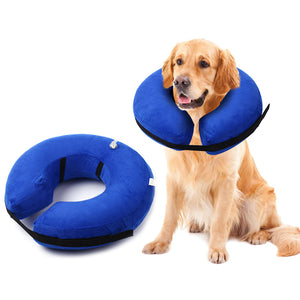 Dog Cat Protection Cover Wound Healing Cone Collar Inflatable Pet Medical Supplies Anti-bite PVC Comfortable Zipper E-Collar