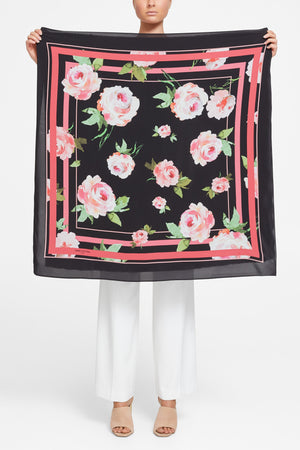 Roses Scarf - Black/Pinks