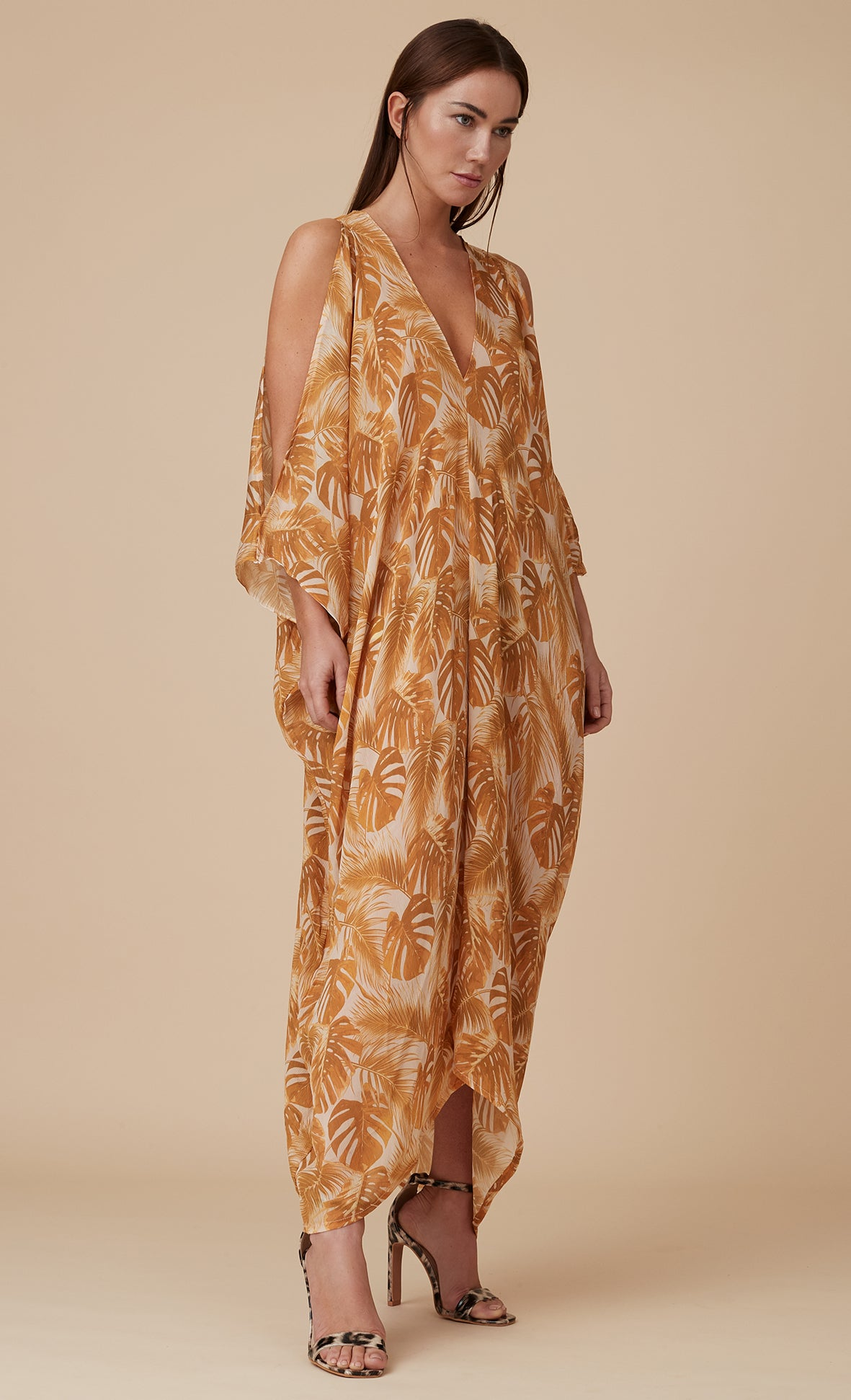 MAYA KAFTAN DRESS GOLD LEAF