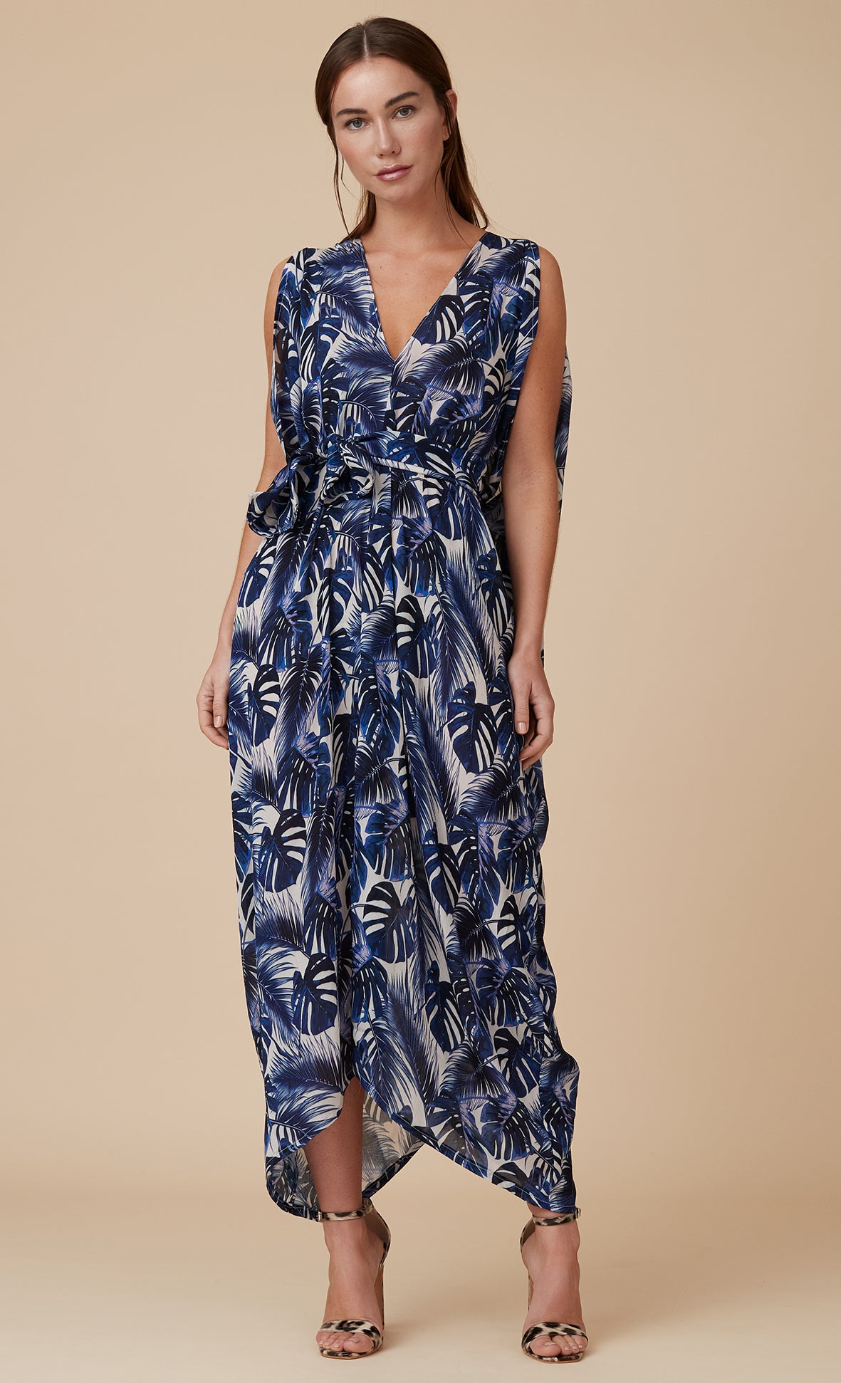 MAYA KAFTAN DRESS INDIGO LEAF