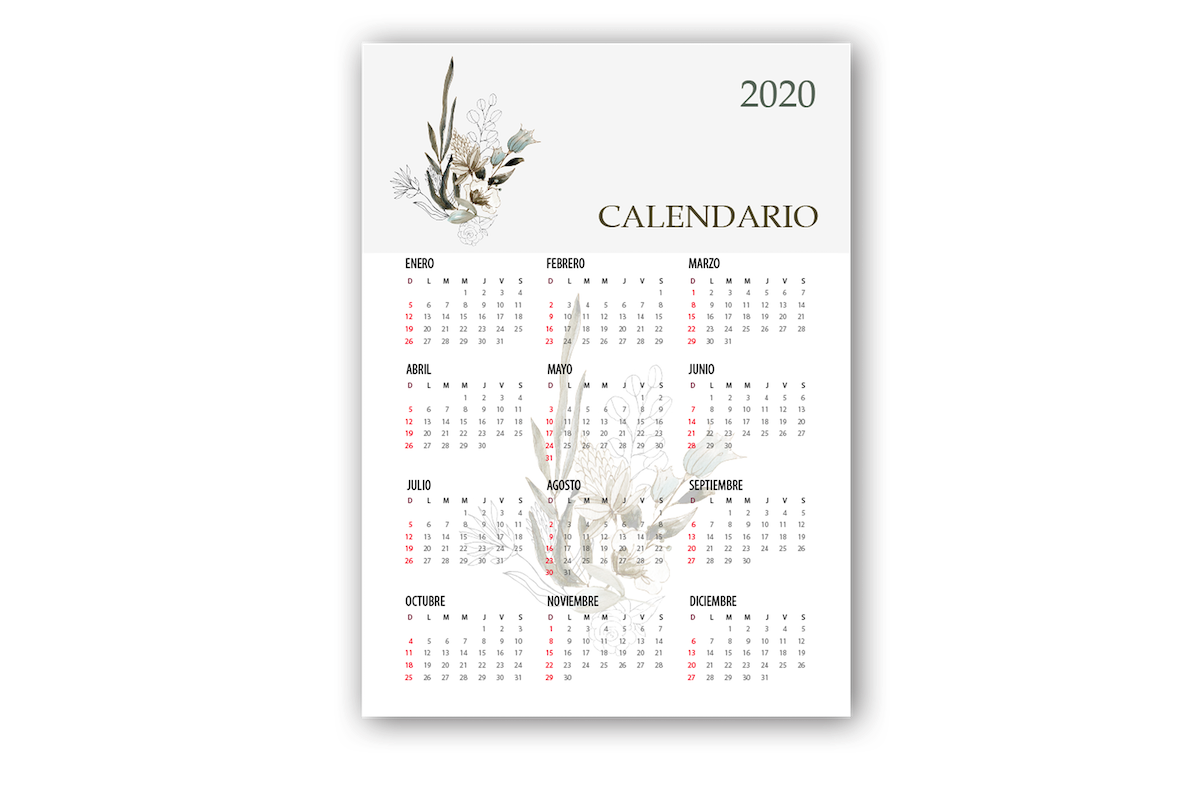 Calendario Póster 2020 Diseño Natural