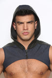 Denim Zippered Chest Vest with Hood