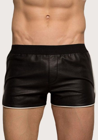Athletic Leather Shorts- black piping