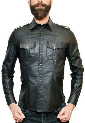 Police Leather Shirt- Long Sleeve
