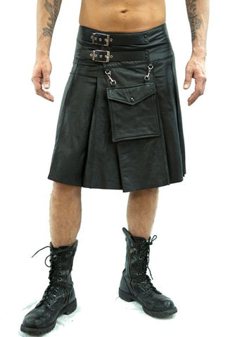 Leather Sporran Kilt-Black