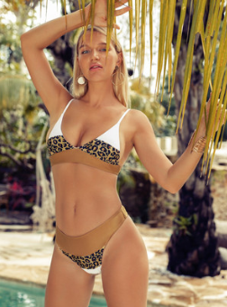Leopard stitching swimsuit high waist bikini