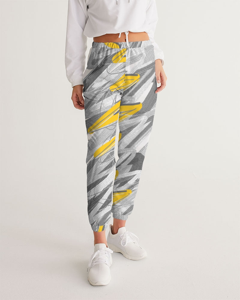 Yellow Streak Print Women's Track Pants