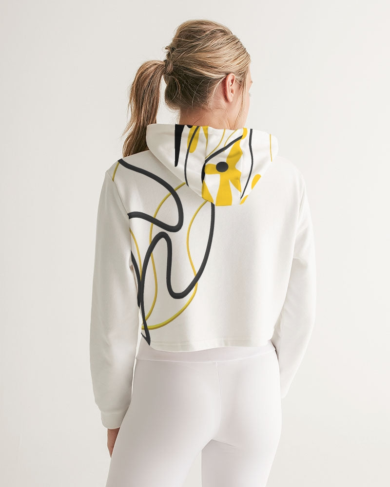 Black and Yellow Women's Cropped Hoodie