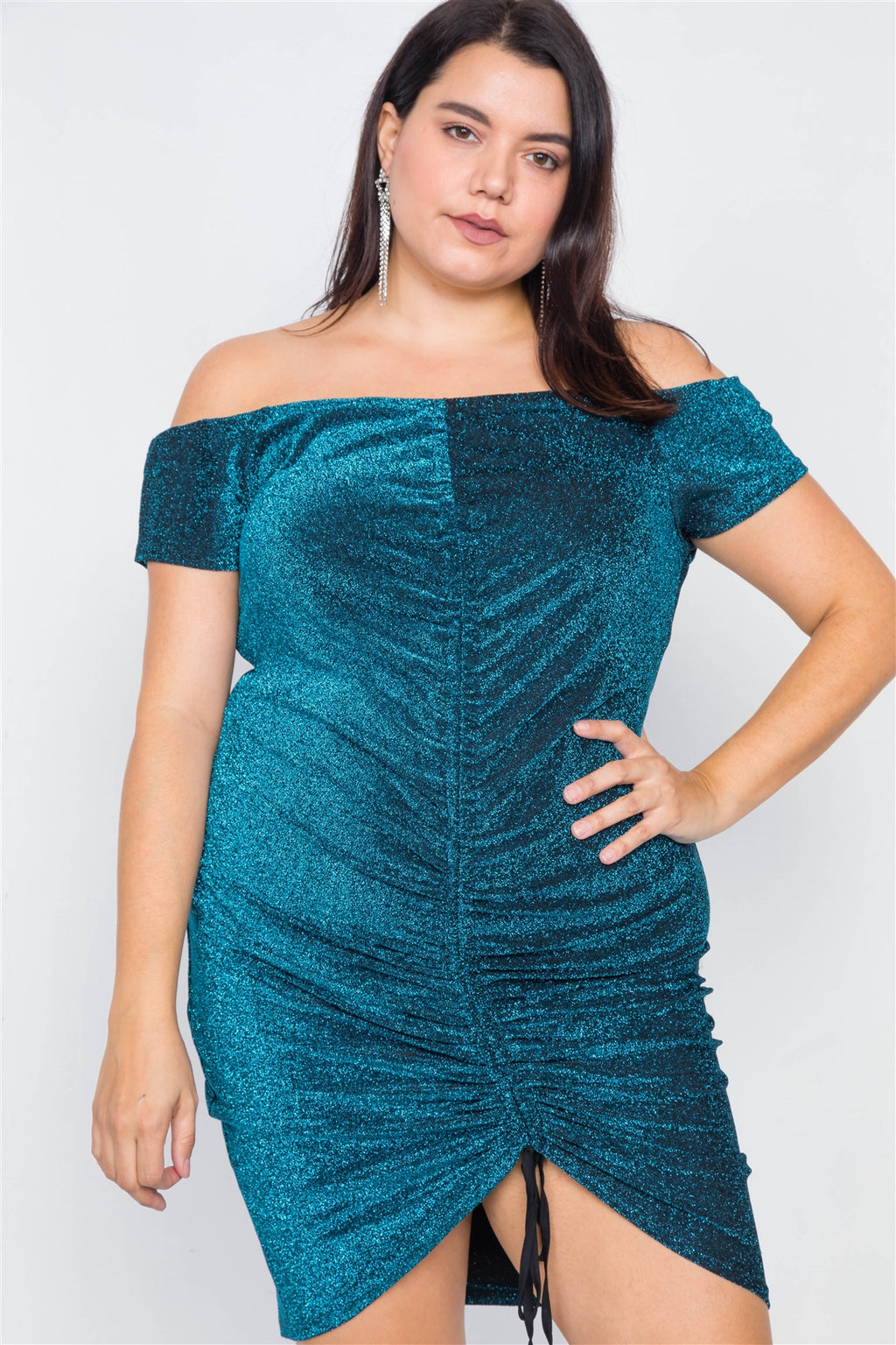 Plus Size Mini Glitter Dress
