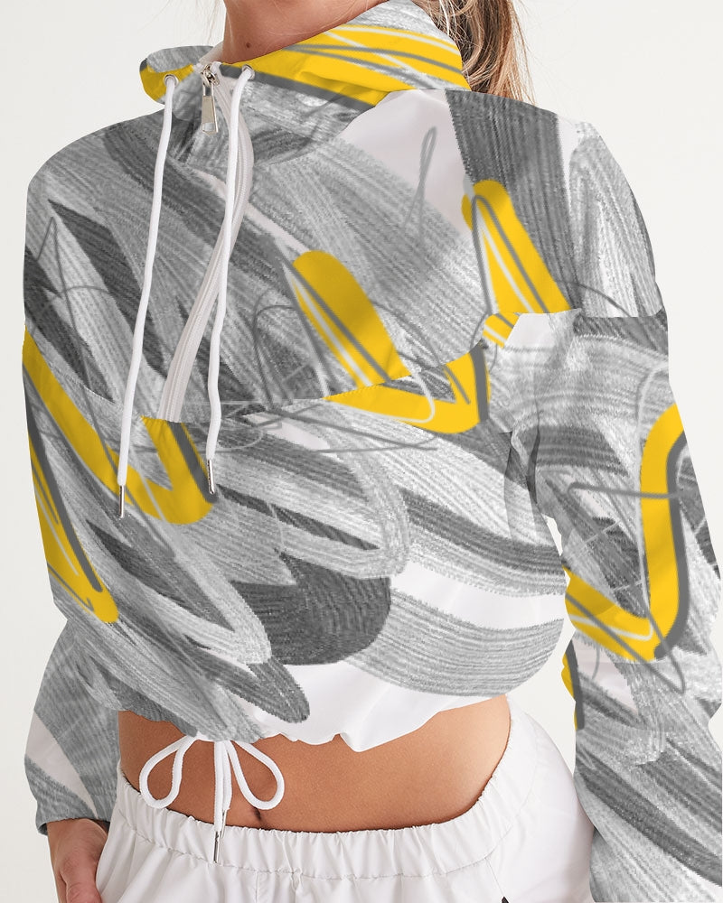 Yellow Streak Print Women's Cropped Windbreaker