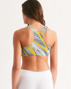 Yellow Streak Print Women's Seamless Sports Bra