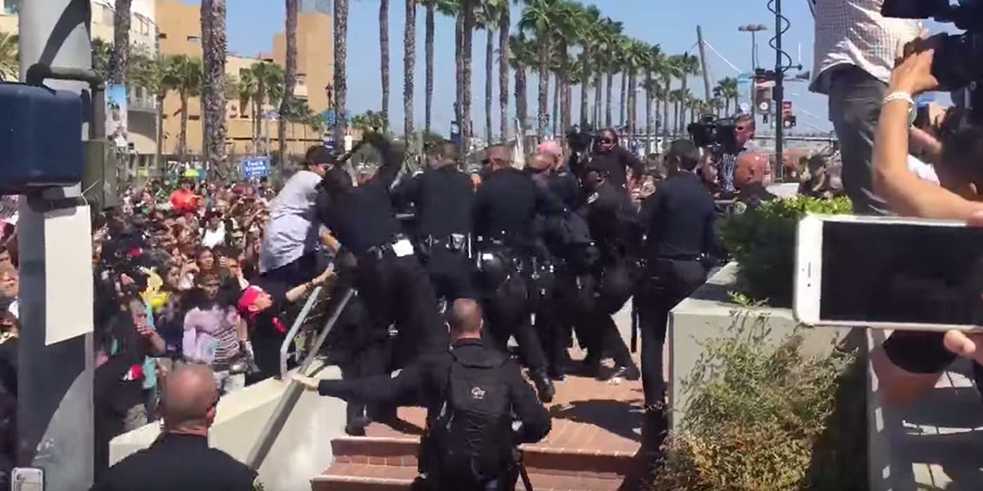 VIDEO: Anti-Trump Rioters Attack Police In San Diego