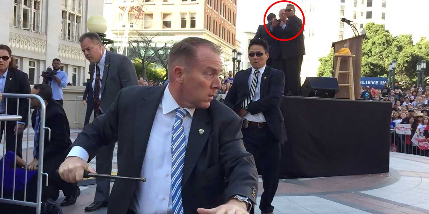 VIDEO: Secret Service Protect Bernie Sanders With Batons