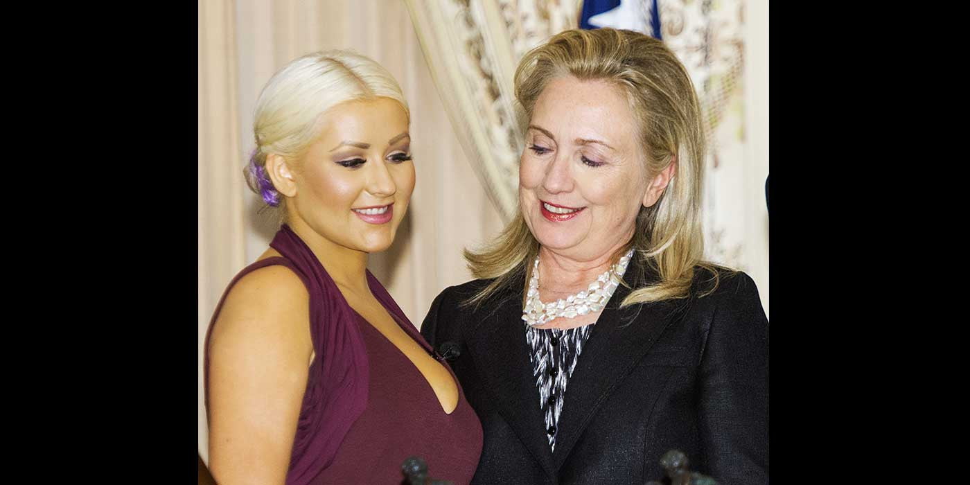 Christina Aguilera: Hillary Clinton stared at my breasts!