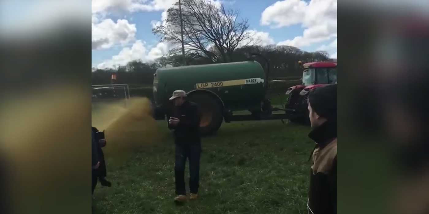 VIDEO: Farmer Sprays Manure On Actress Emma Thompson