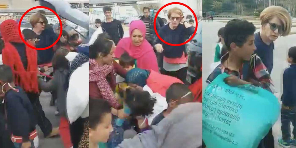 Greek Woman donating food robbed by migrant refugees