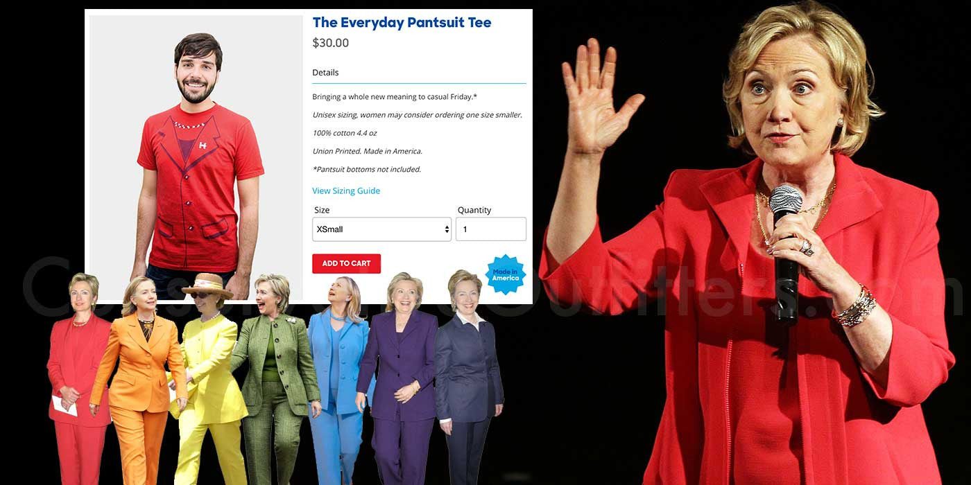 "Hillary Clinton selling ""The Everyday Pantsuit Tee"" on her website..."