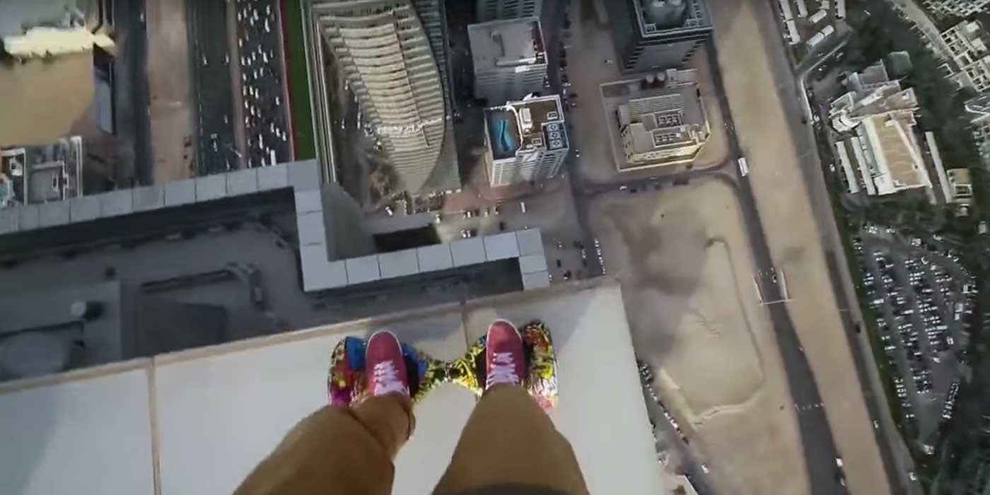 Man Rides Hoverboard On The Edge Of This Skyscraper!