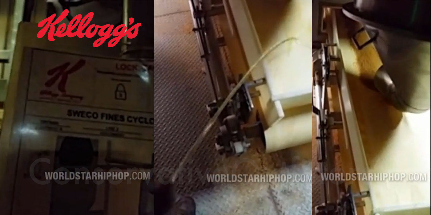 Man urinates on Kellogg's cereal factory conveyor line
