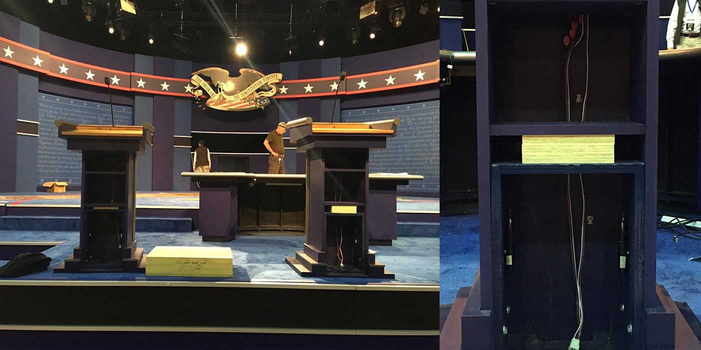 PHOTO: Hillary Clinton using a modified custom podium at the debate?