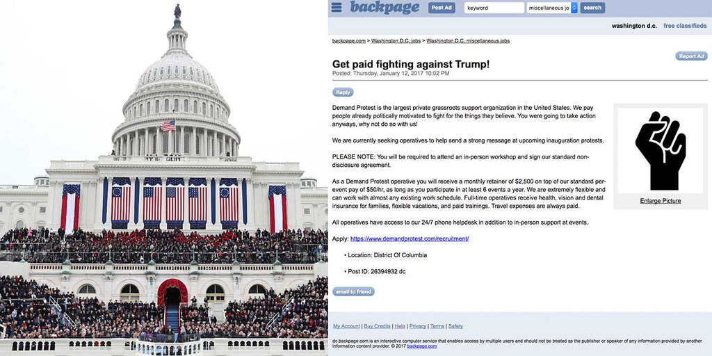 PROOF: Protesters are paid $2,500 to disrupt Trump's Inauguration?