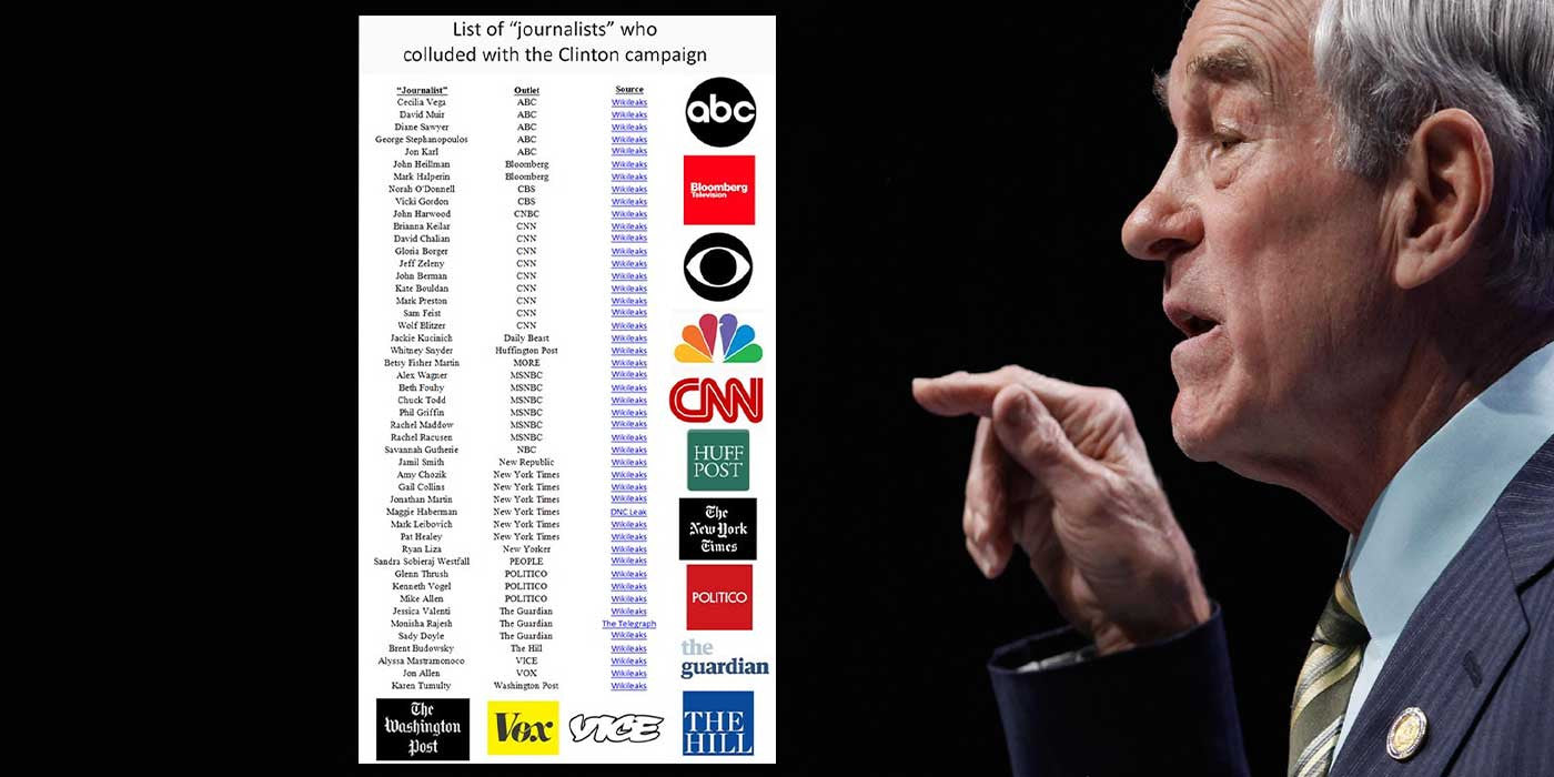 "Ron Paul publishes list of ""FAKE"" news websites and journalists"