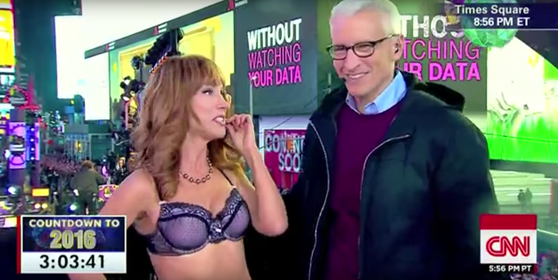 Drunk CNN Host tells Kathy Griffin she has 'Nice Boobs' LIVE on TV