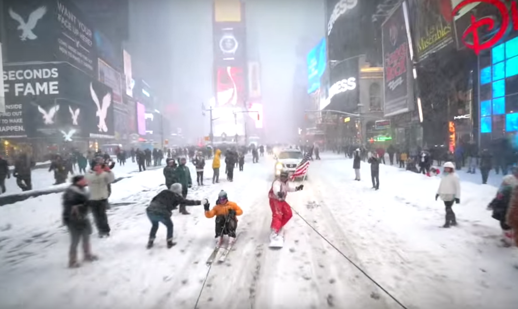 Snowboarding on the streets of New York City