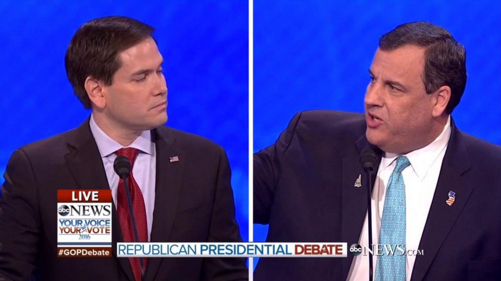 Watch Chris Christie take Marco Rubio out to the woodshed...