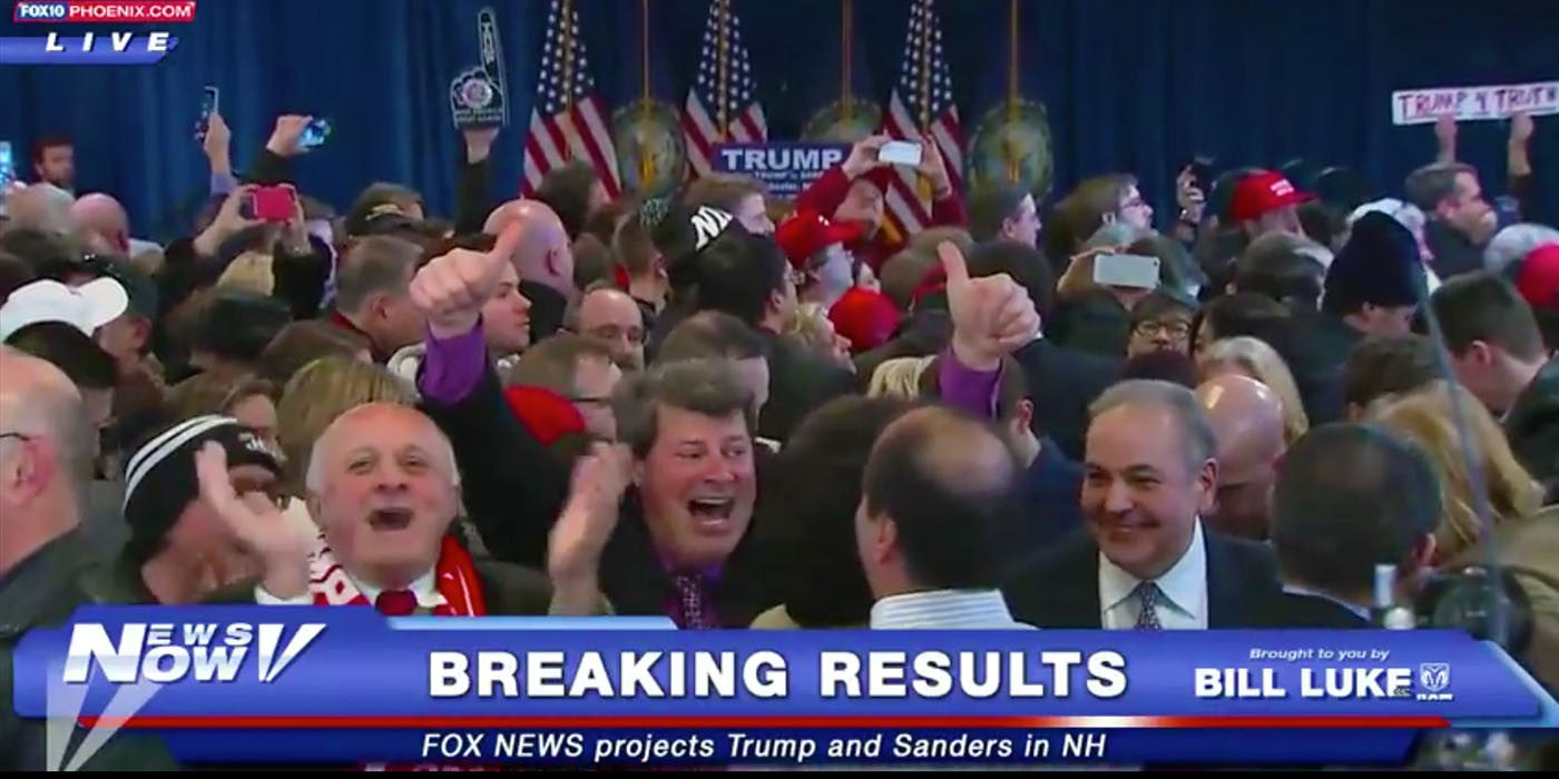 DONALD TRUMP WINS NEW HAMPSHIRE
