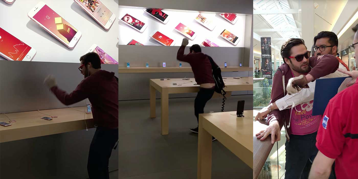 VIDEO: Apple customer freaks out and smashes every iPhone in the store