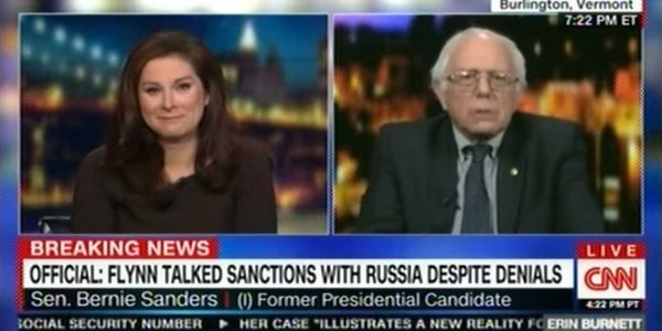 VIDEO: CNN cuts Bernie Sanders feed after joke about 'FAKE NEWS'