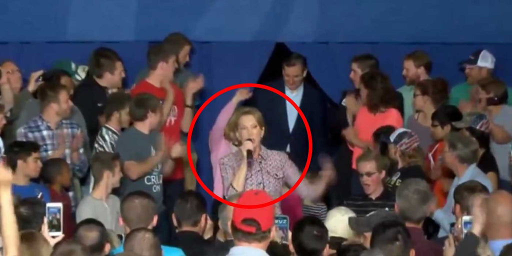 VIDEO: Carly Fiorina Falls Off Stage At Cruz Rally