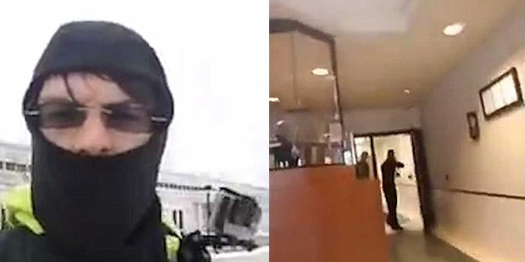 VIDEO: Man walks into police station with AK-47 wearing a ski mask