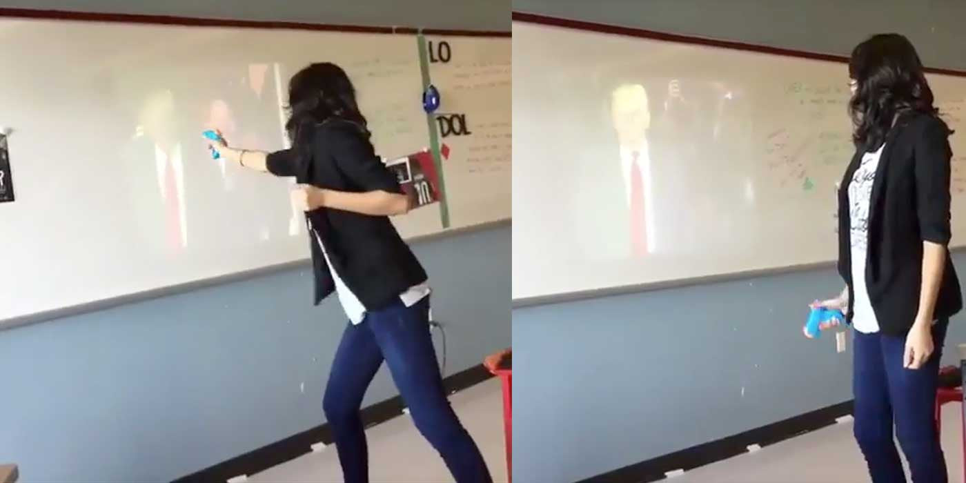VIDEO: Teacher Has Meltdown, Shoots Trump With Water Gun Yelling ...