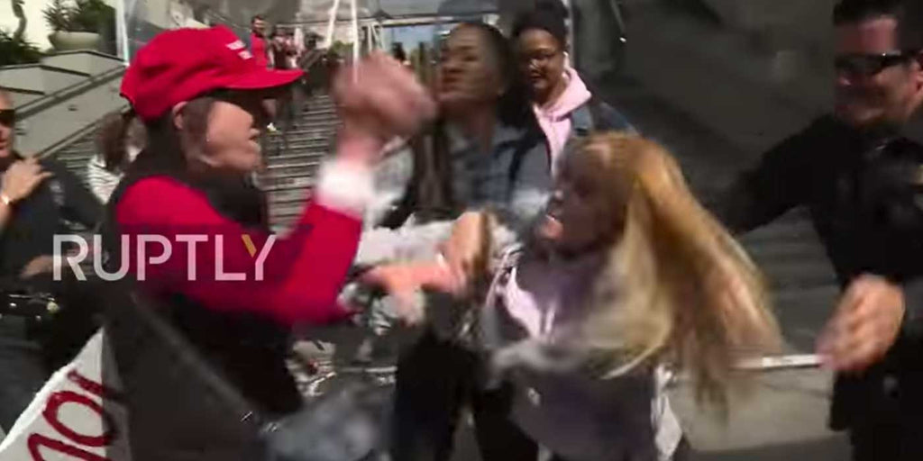 VIDEO: Woman attacked for supporting Trump outside Oscars ceremony