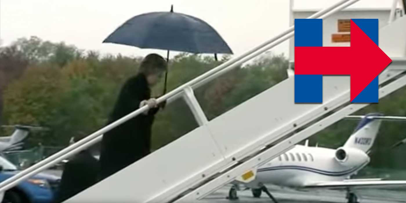 WATCH: Hillary Clinton stumbles boarding airplane (VIDEO)