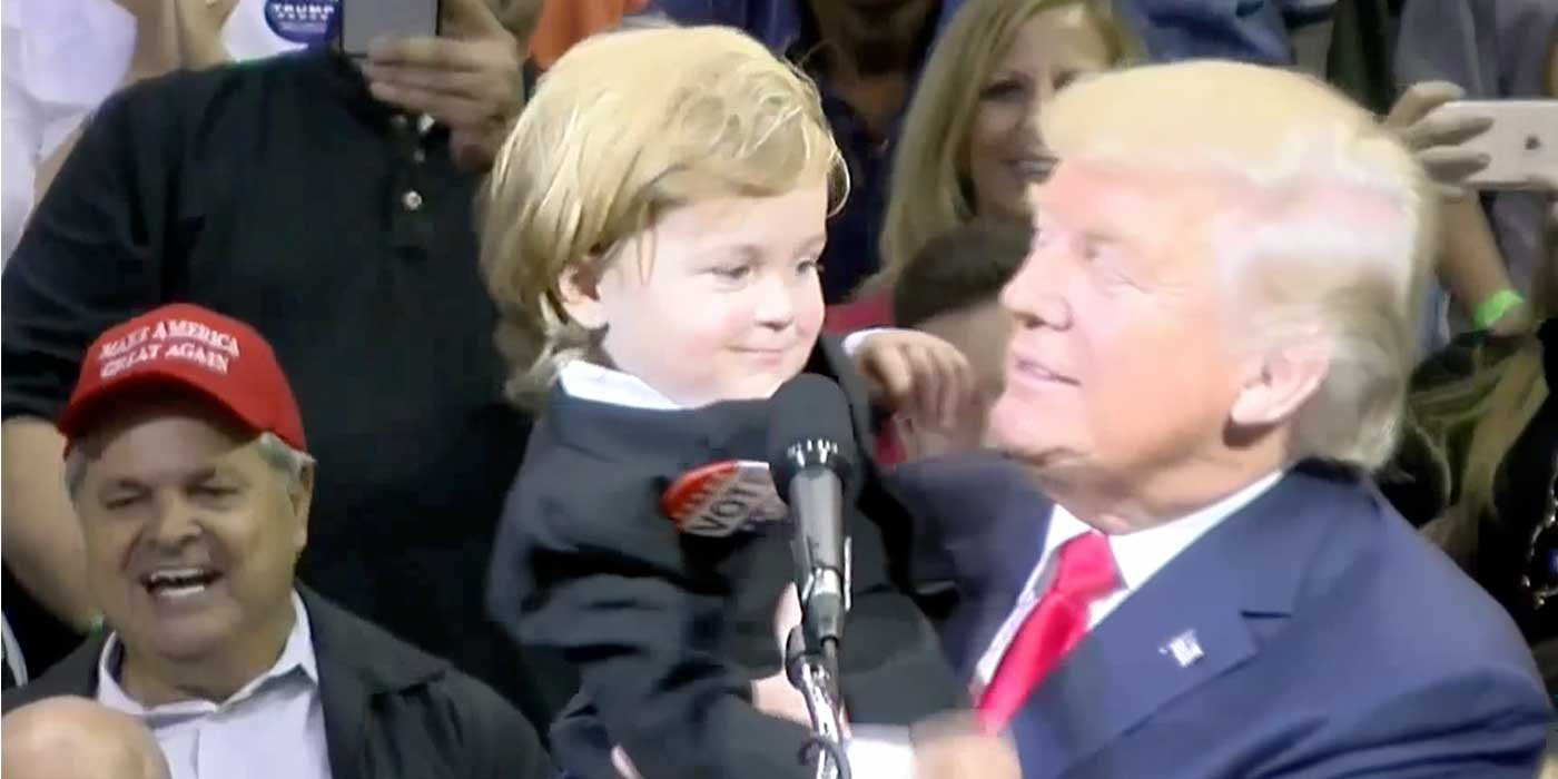 WATCH: Mini Donald Trump Meets The Real Donald Trump On Stage (VIDEO)