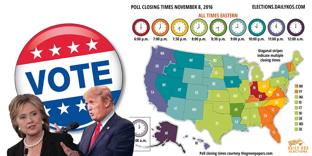 What time do the polls close tonight? (2016 Election Results)