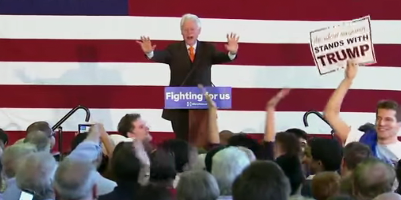 Bill Clinton Argues With Trump Protester in Florida