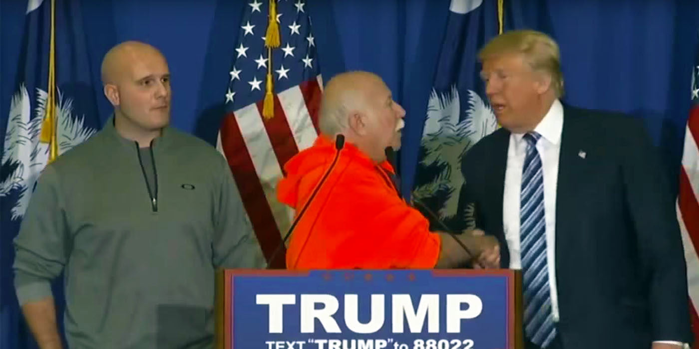 Donald Trump brings men on stage who took out protester