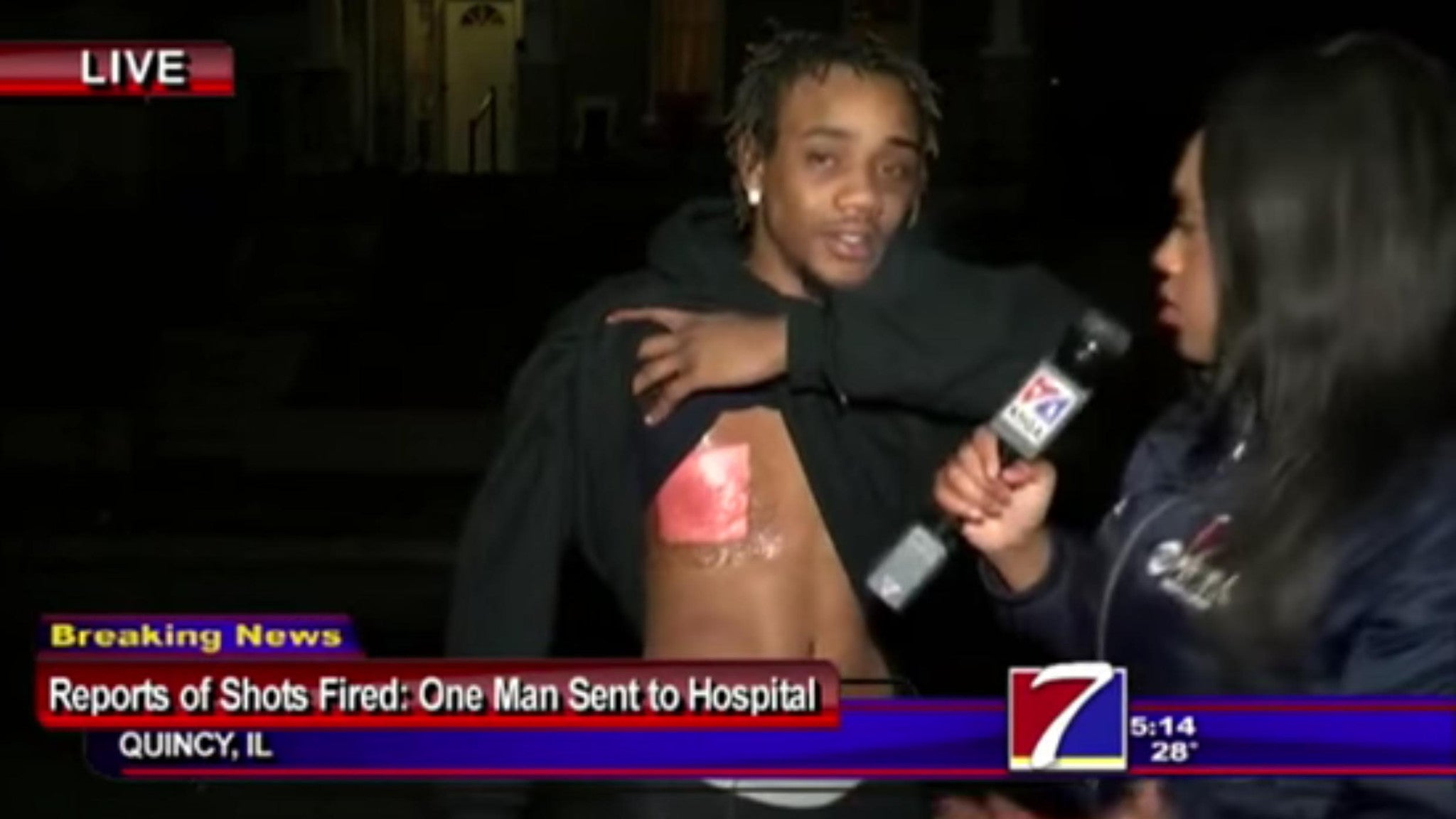 Shooting victim gives interview right after being shot in the chest