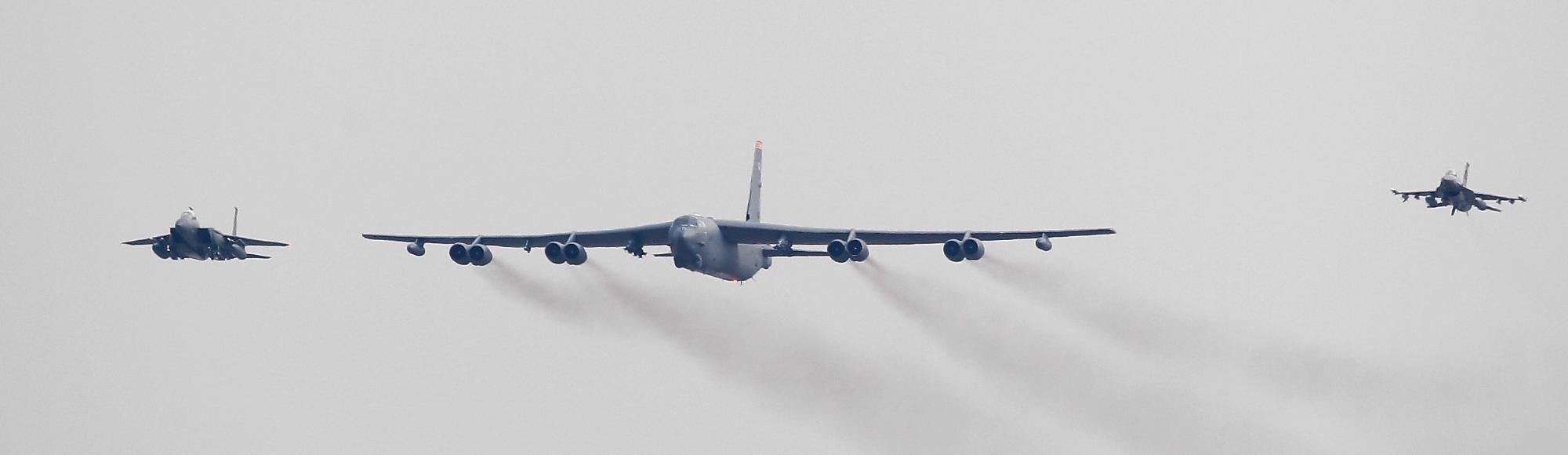 Deterrence Mission: U.S. Flies B-52 Bomber next to North Korea (Video)