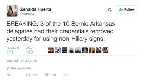 3 of the 10 Bernie Arkansas delegates had their credentials removed yesterday for using non-Hillary signs.