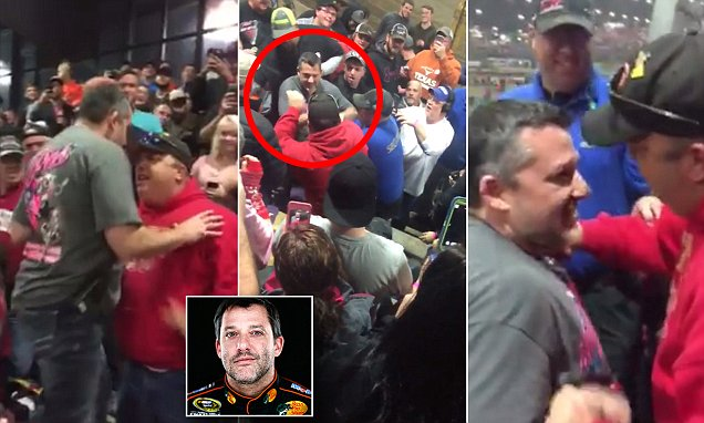 NASCAR's Tony Stewart confronts heckler in grandstands at Chili Bowl