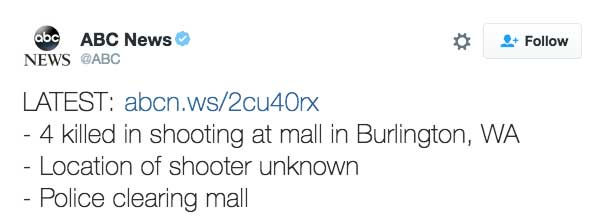 4 killed in shooting at mall in Burlington, WA