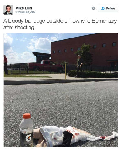 A bloody bandage outside of Townville Elementary after shooting.