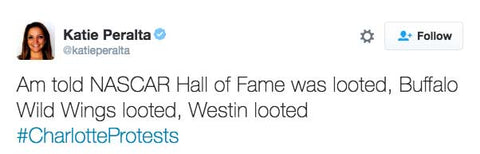 Am told NASCAR Hall of Fame was looted, Buffalo Wild Wings looted, Westin looted