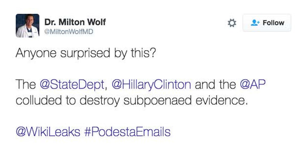 Anyone surprised by this?  The @StateDept, @HillaryClinton and the @AP colluded to destroy subpoenaed evidence.