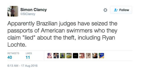 "Apparently Brazilian judges have seized the passports of American swimmers who they claim ""lied"" about the theft, including Ryan Lochte."
